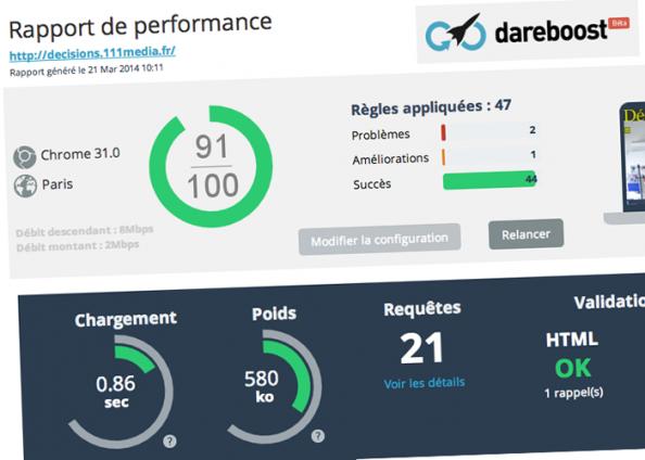 Les perfs de la plateforme ont été testées avec succès sur Dareboost