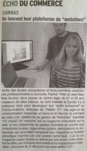 Article sur la plateforme de création de webzines surle Dauphiné Libéré, Valence, Drôme